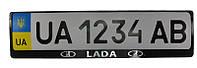 Рамка номер. знаку пластик з об'ємними літерами LADA (2шт), фото 1