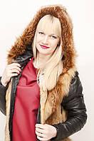 Куртка-трансформер из меха лисы с кожаными вставками, Элеонора