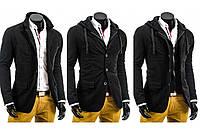 Теплая мужская куртка трансформер 2 в 1 пиджак и куртка с капюшоном