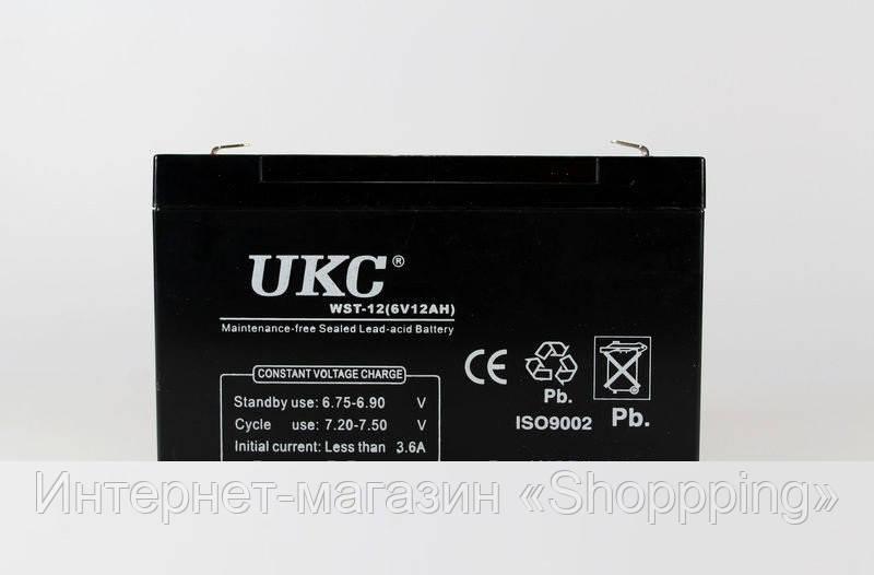 Аккумуляторнаябатарея BATTERY 6V 12A UKC, аккумулятор battery 12V, герметичный кислотно-свинцовый аккумулятор - Интернет-магазин «Shoppping» в Днепре