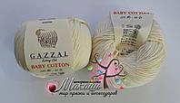 Пряжа Baby cotton Gazzal (Бэби котон Газал), 3437, молочный