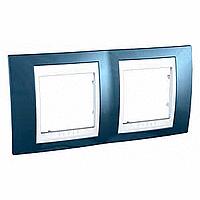 Рамка 2 поста Schneider Electric Unica Plus MGU6.004.854 Голубой лед/ белый