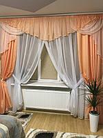 Готовый комплект на окно шторы+тюль+ламбрекен №305