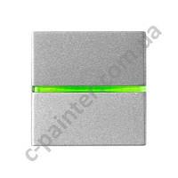 Выключатель одноклавишный с индикацией 2 модуля ABB ZENIT Серебряный N2201.5 PL