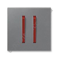 Центральная панель выключателя двойная ABB Neo Сталь/Терракота 3559M-A00652 71