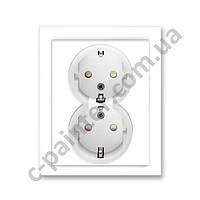 Механизм двойной розетки с заземлением и шторками ABB Neo цвет Белый / Белый  5512M-C03459 03