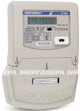 Электросчетчик Энергомера CE 302 S33 503 J 5-10А, 3 фазный, 57,7/100 В, ЖКИ, актив-реактив однотарифный