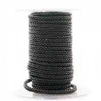 Квадратный плетеный кожаный шнурок   4,0 х 4,0 мм Цвет: Черный (Индия)