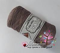 Трикотажная пряжа Celine ribbon Peria, серо-кофейный
