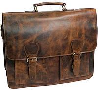 Мужской портфель из натуральной кожи Paul Rossi 38567 коричневый