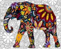 Картина по номерам Цветочный слон (VK156) 30 х 40 см