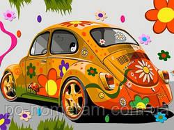 Картина-раскраска DIY Babylon Назад в 60-е (оранжевая машина) (VK172) 30 х 40 см