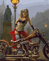 Картина для рисования Турбо Мотоцикл и девушка в стиле стимпанк Худ Дэвид Уль (VP717) 40 х 50 см