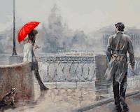 Картина по номерам Турбо Незнакомка под алым зонтом Худ Дандорф Ольга (VP732) 40 х 50 см