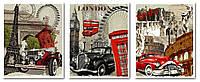 Картина-раскраска Турбо Триптих Винтажные марки (VPT019) 50 х 120 см