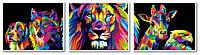 Картина по номерам Турбо Триптих Радужные животные худ Ваю Ромдони (VPT022) 40 х 150 см