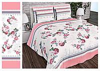 Полуторный пододеяльник из бязи голд 150*215 Розовые цветы сердечко