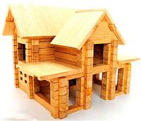 Деревянный конструктор Коттедж с мансардой на 126 дет
