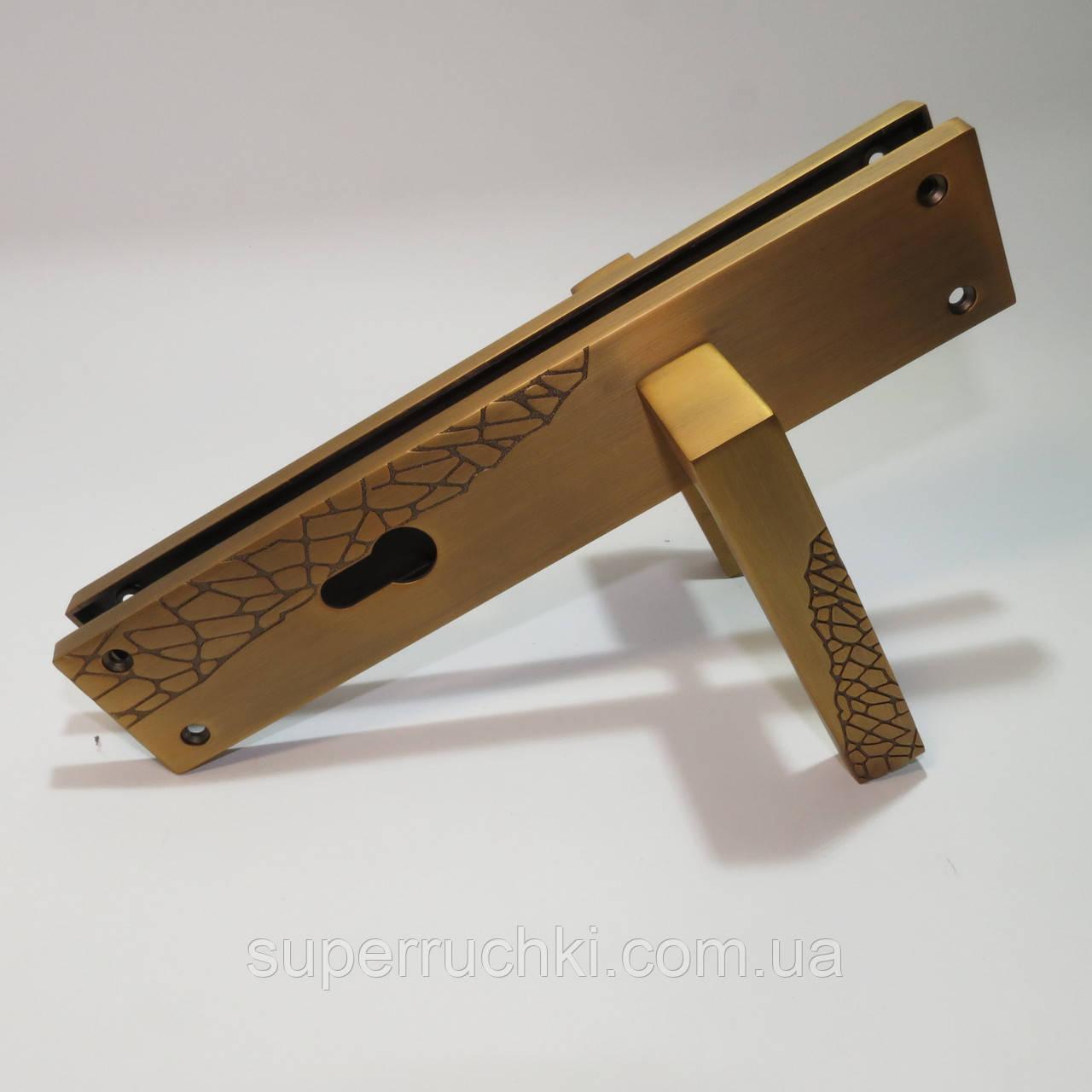Ручка на планке для входных дверей YU-TL Дюна  MAB (матовая бронза)