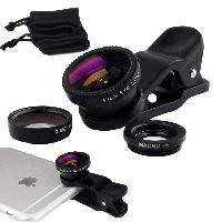 Объективы, линзы для телефона Fisheye (Рыбий глаз Фишай), Macro Макро, Wide, набор объективов 3 в 1, объектив