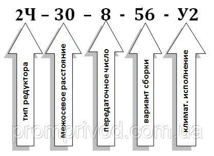 Пример условного обозначения червячного редуктора 2Ч-30