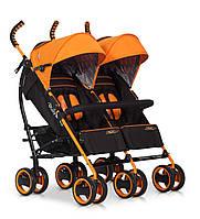 Детская прогулочная коляска-трость для двойни EasyGo Duo Comfort Orange