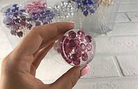 Шпильки для волос с крупным камнем розового цвета d 1 см