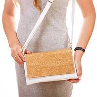 Классический женский клатч с золотистым клапаном