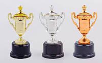 Кубок спортивный с ручками и крышкой Star C-855, 3 цвета: пластик + металл, высота 17см