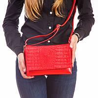 Красная сумка клатч 1384redn маленькая с крокодиловым тиснением кросс-боди через плечо