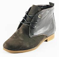 Ботинки демисез женск VOG Б-004-1-2н+к коричневый нубук+кожа