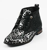 Ботинки демисез женск VOG Б-004-1н черно-серебристый нубук+змея