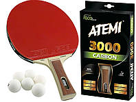 Ракетка для настольного тенниса теннисная ATEMI 3000 CARBON ECO LINE