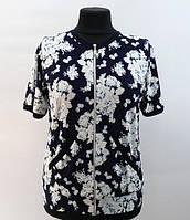 """Женская блузка """"хризантема"""" белая на молнии, 50-60 размер"""