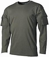 Футболка тактическая с длинным рукавом и карманами, х/б MFH 00123B