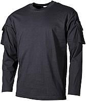 Футболка тактическая с длинным рукавом и карманами, х/б MFH 00123A
