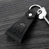 Брелок кожаный черный (ручная работа)