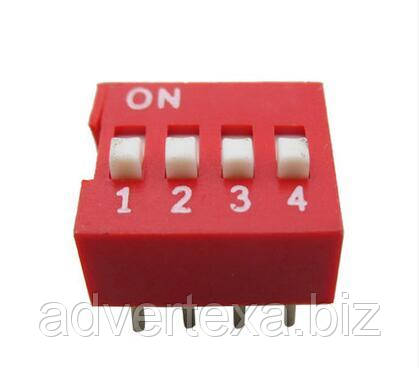 DIP-переключатель на 4 позиции, 2.54 мм. шаг, 8 Pin