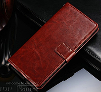 Кожаный чехол-книжка для Lenovo K900 коричневый