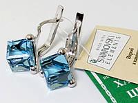 Серебряные серьги Кубик Сваровски Украина, фото 1