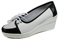 Туфли женские Comfort 60985 бело-черная кожа