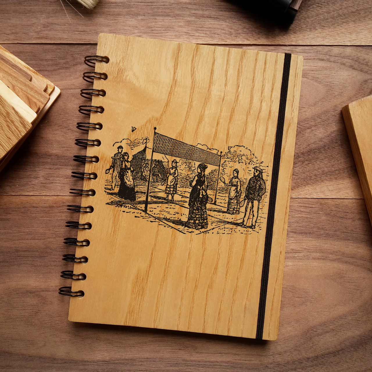 """Деревянный блокнот """"Бадминтон"""" А5 (бумага 148х210 мм)"""
