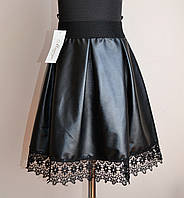 Юбка детская для девочки, в складки, эко-кожа, черного цвета, фото 1