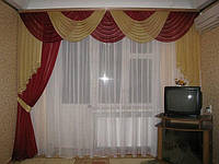 Ламбрекен в зал на трехметровый карниз с односторонней  шторой