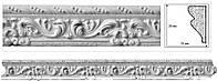 Потолочный плинтус с орнаментом из гипса