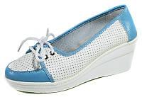 Туфли женские Comfort 60985 бело-голубая кожа