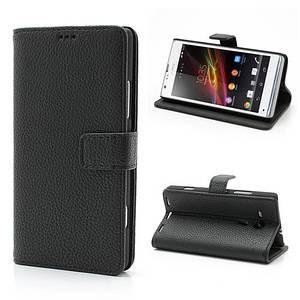 Чехол книжка для Sony Xperia SP C5303 C5302 C5306 M35h боковой с отсеком для визиток Черный