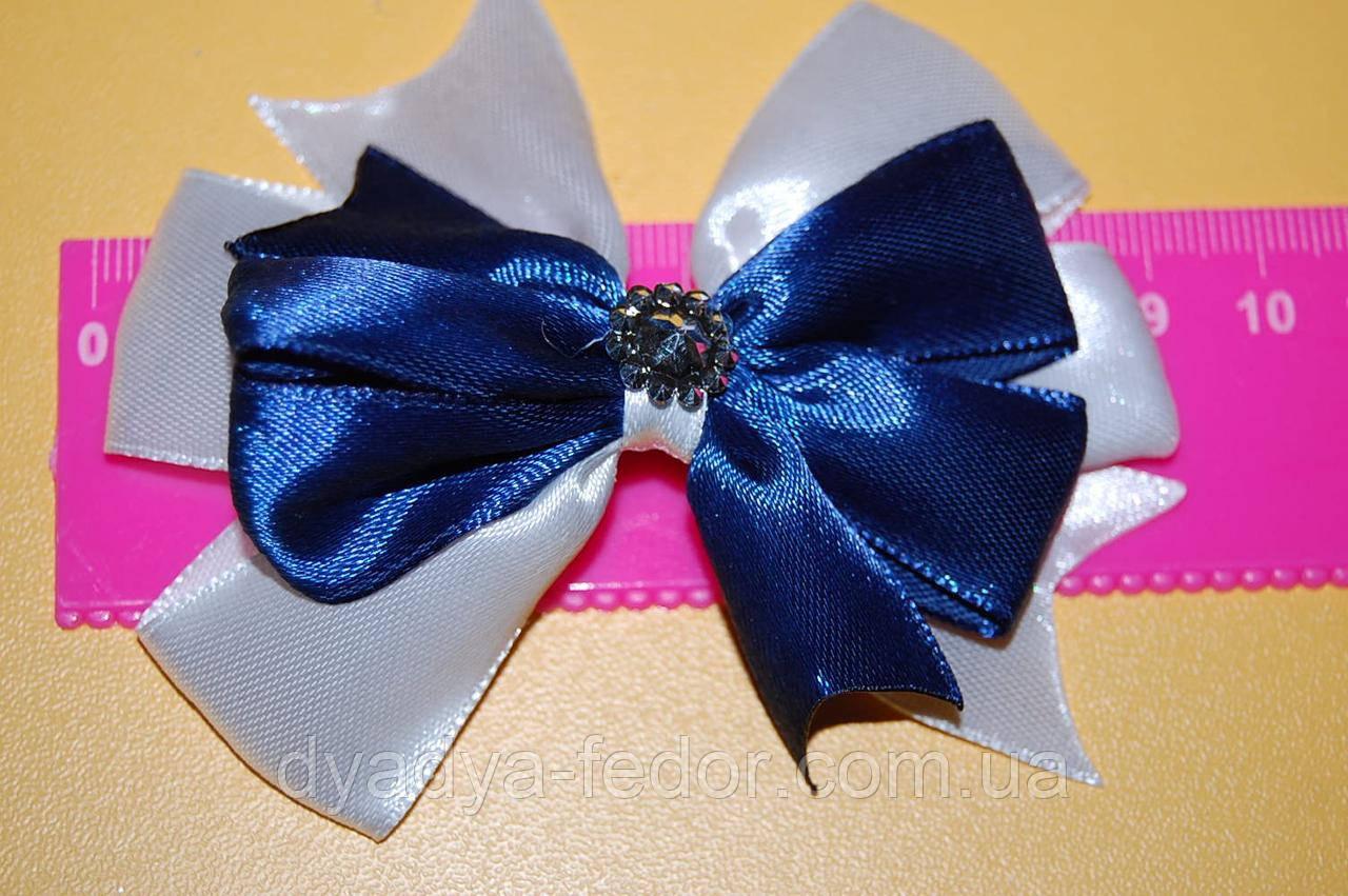 Шпилька для волос бантик школа синяя код мп096
