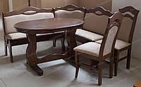 Кухонный уголок деревянный мягкий со столом и стульями (табуретами) для кухни и гостиной
