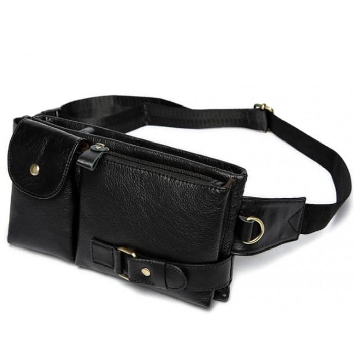 Кожаная черная сумка на пояс MR9080A